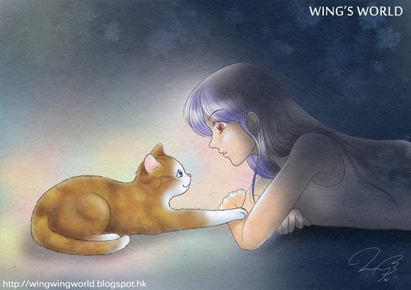 Cat and Girl by wingworld