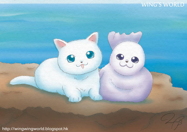 Cat and Seal by wingworld