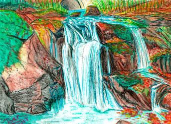 Autumn Waterfall - Pastel Oil version