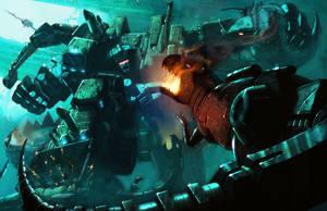 Devastator vs Dinobots-Color by LivioRamondelli