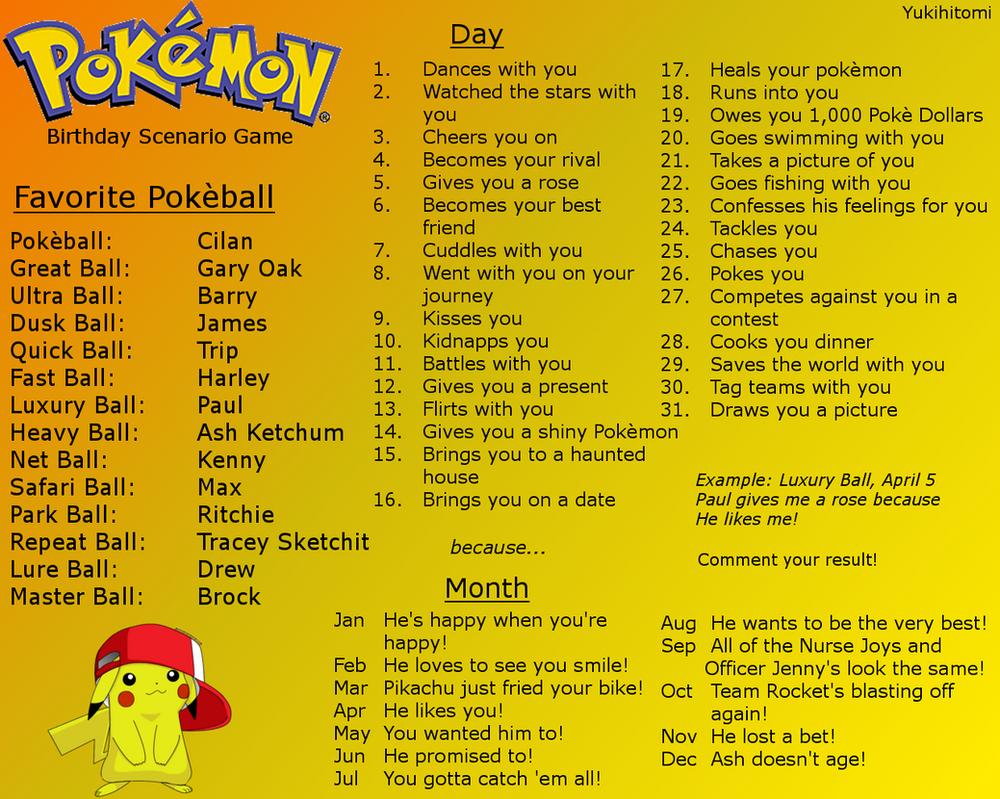 Type Birthday Scenario Game   Pokemon   Know Your Meme