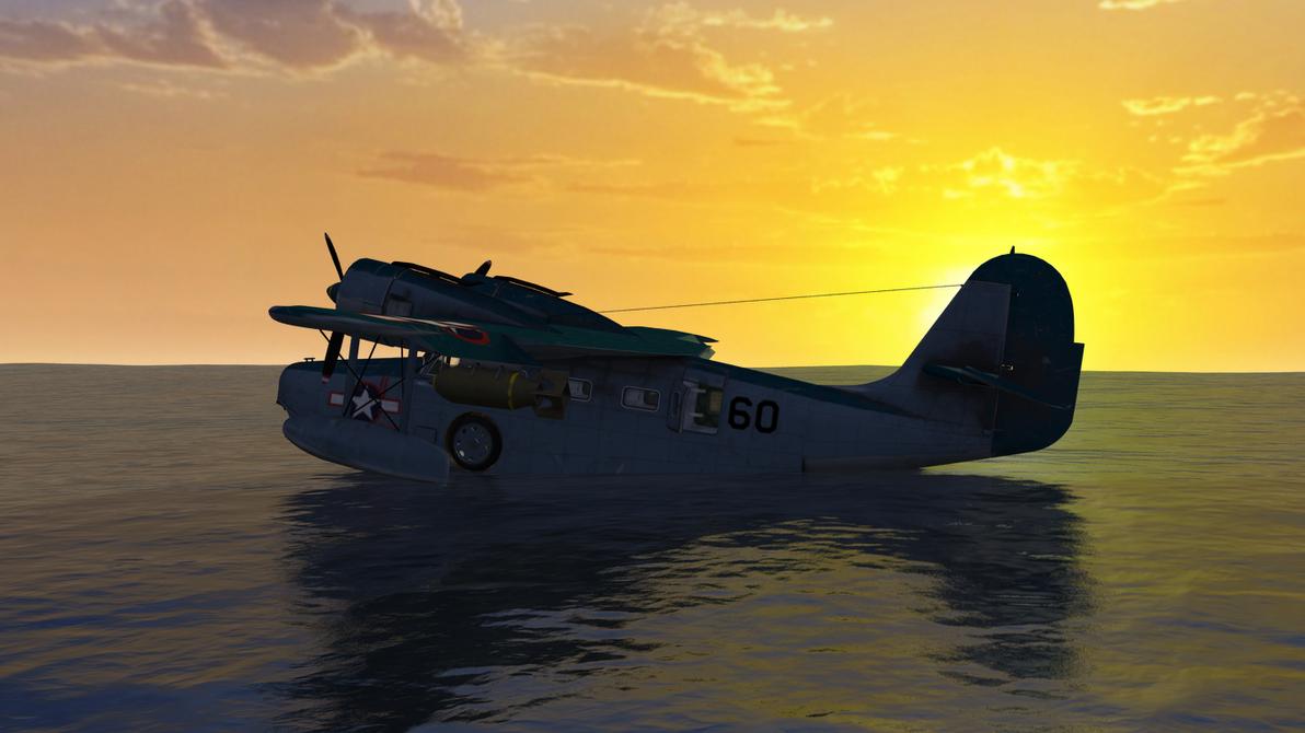 Daz cybertenko ocean wide Grumman Goose Landed Sun by anthsco on