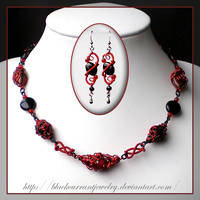 Black and Red Set by blackcurrantjewelry