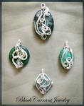 Silver and Green Pendants