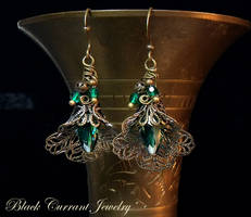 Green Crystal Earrings by blackcurrantjewelry
