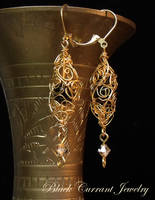 Golden Swirls Earrings by blackcurrantjewelry