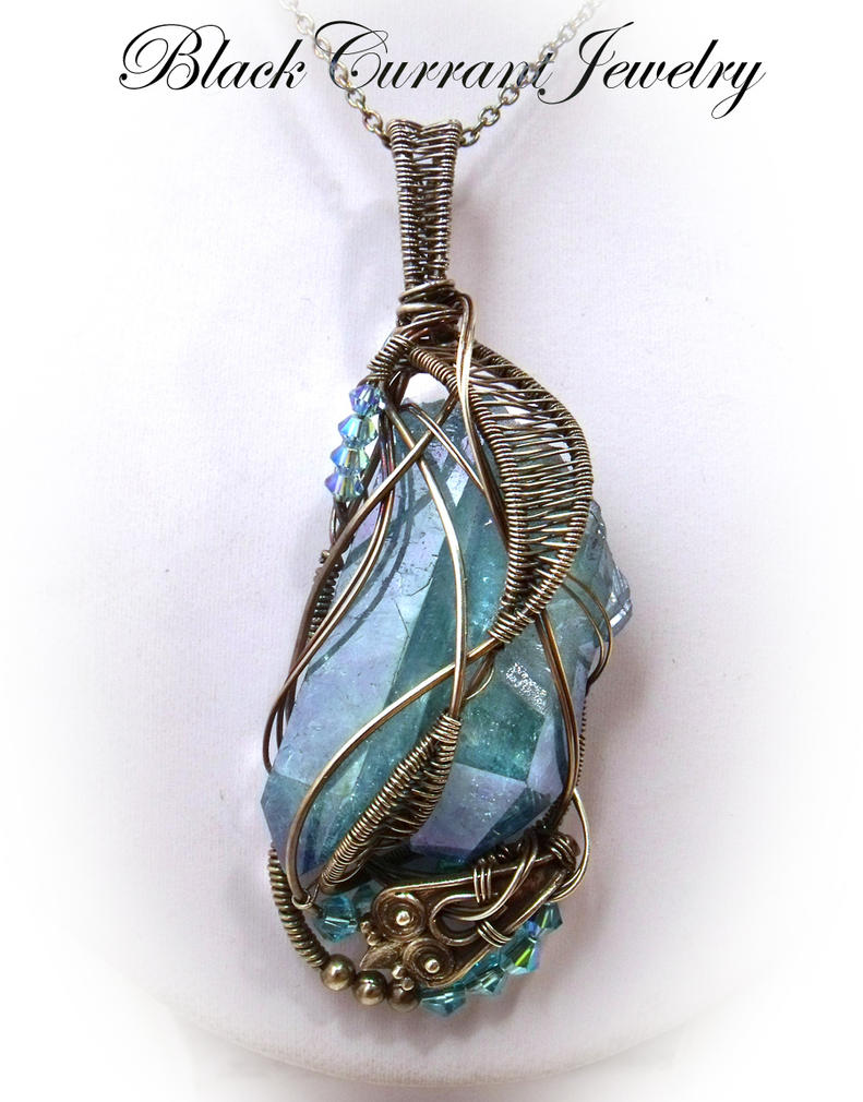 Blue Rock Crystal Pendant by blackcurrantjewelry
