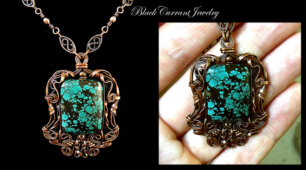 Turquoise and Copper Pendant by ~blackcurrantjewelry