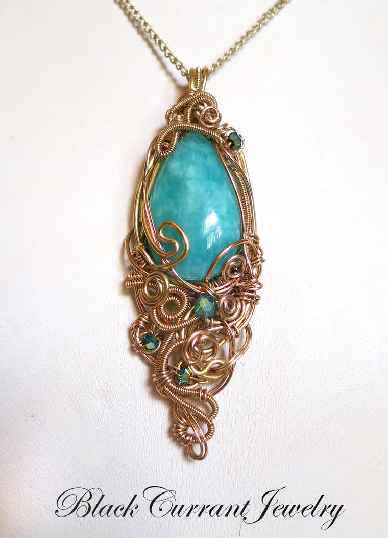 Amazonite in Gold 2 by blackcurrantjewelry