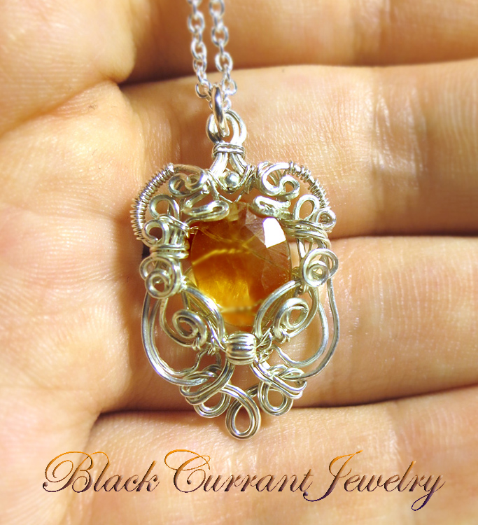 Citrine and Sterling Silver Tiny Pendant by blackcurrantjewelry