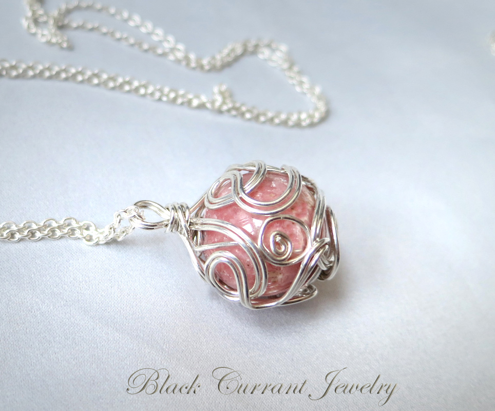 Sterling Silver Ball Pendant - Rhodochrosite by blackcurrantjewelry