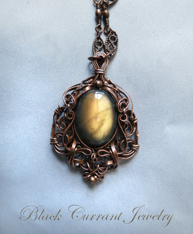 Honey Drop Labradorite and Copper Pendant by blackcurrantjewelry