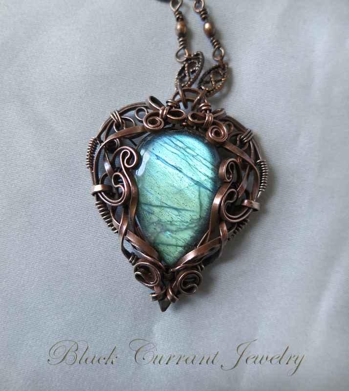 Magical Mirror - big labradorite drop and copper by blackcurrantjewelry