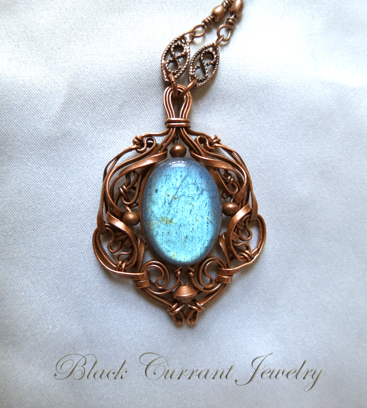 Tiny Lake Labradorite and Copper pendant by blackcurrantjewelry