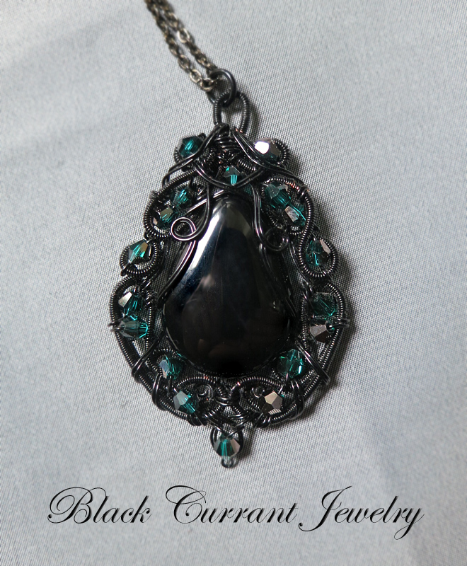 Onyx and Black Wire Pendant by blackcurrantjewelry