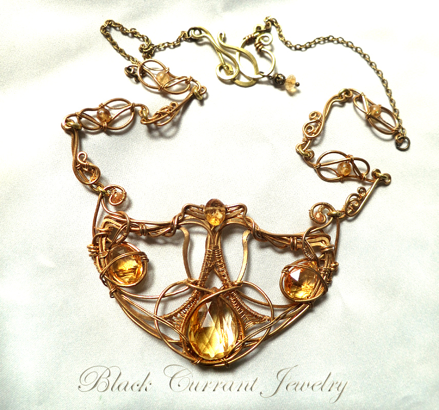 Citrine and Brass Art Nouveau Necklace by blackcurrantjewelry