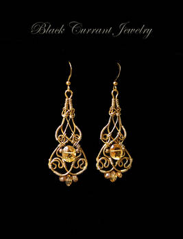 Citrine and Brass Art Nouveau Earrings