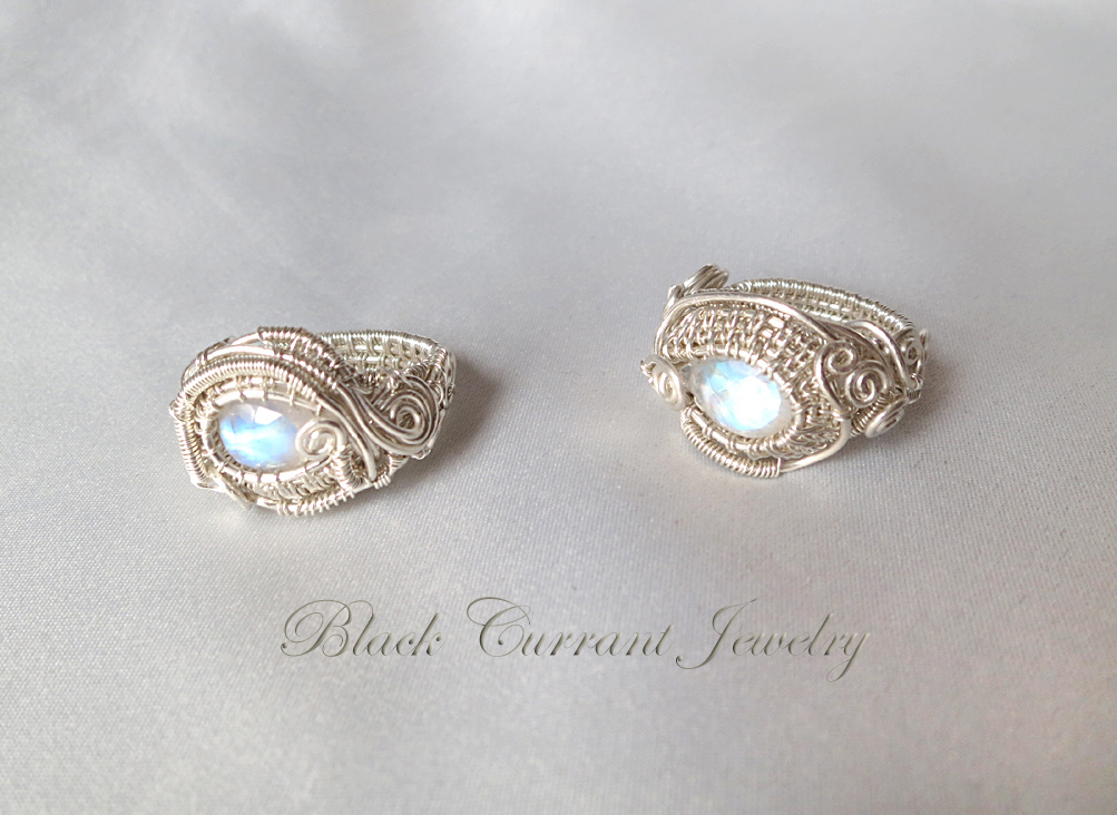 rainbow moonstone and sterling silver rings by
