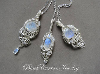 Three Rainbow Moonstone and Silver Pendants by blackcurrantjewelry