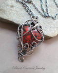 Red Jasper with Dark Sterling Silver Heart Pendant