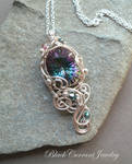 Mystical Topaz and Small Crystals Silver Pendant