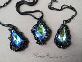 Three Blue Swarovsky Crystals with Black Wire