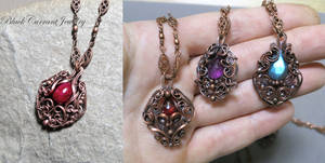 Ruby, Garnet, Amethyst, Labradorite with Copper
