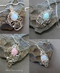 Four Tiny Pendants in sterling silver