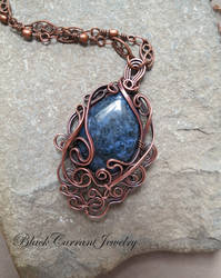 Dumortierite and Copper Pendant by blackcurrantjewelry