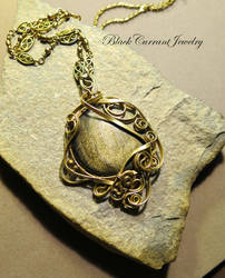 Golden sheen obsidian with brass wire by blackcurrantjewelry