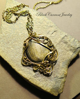 Golden sheen obsidian with brass wire