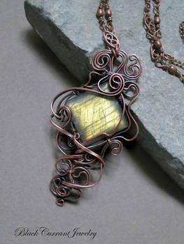 Rectangular Yellow Labradorite with Copper