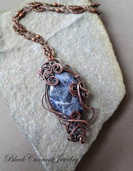 Blue Sodalite and Copper Pendant