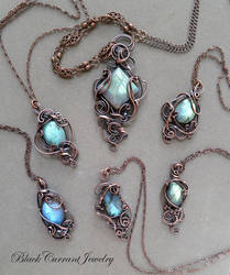 Six Labradorite and Copper Pendants by blackcurrantjewelry