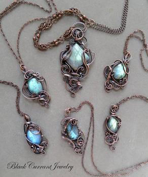 Six Labradorite and Copper Pendants