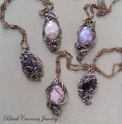 Amethyst and Rose Quartz Pendants with Copper by blackcurrantjewelry