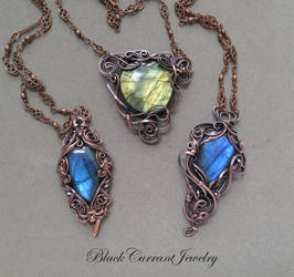 Blue and Yellow Fire Labradorites with Copper by blackcurrantjewelry