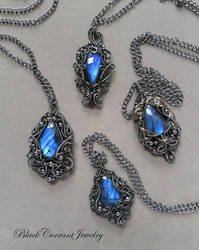 Four Labradorites in Dark Silver.