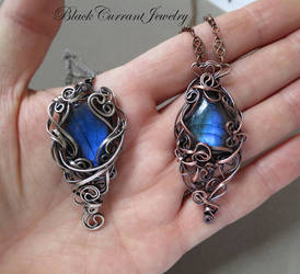 Labradorites with Sterling Silver and Copper