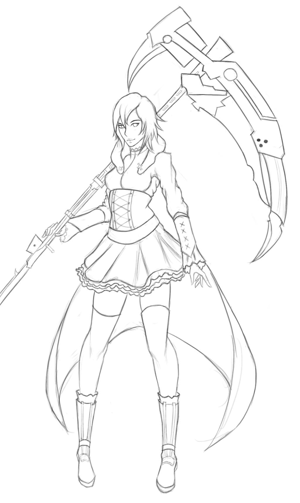 ruby rwby line by forsei on deviantart