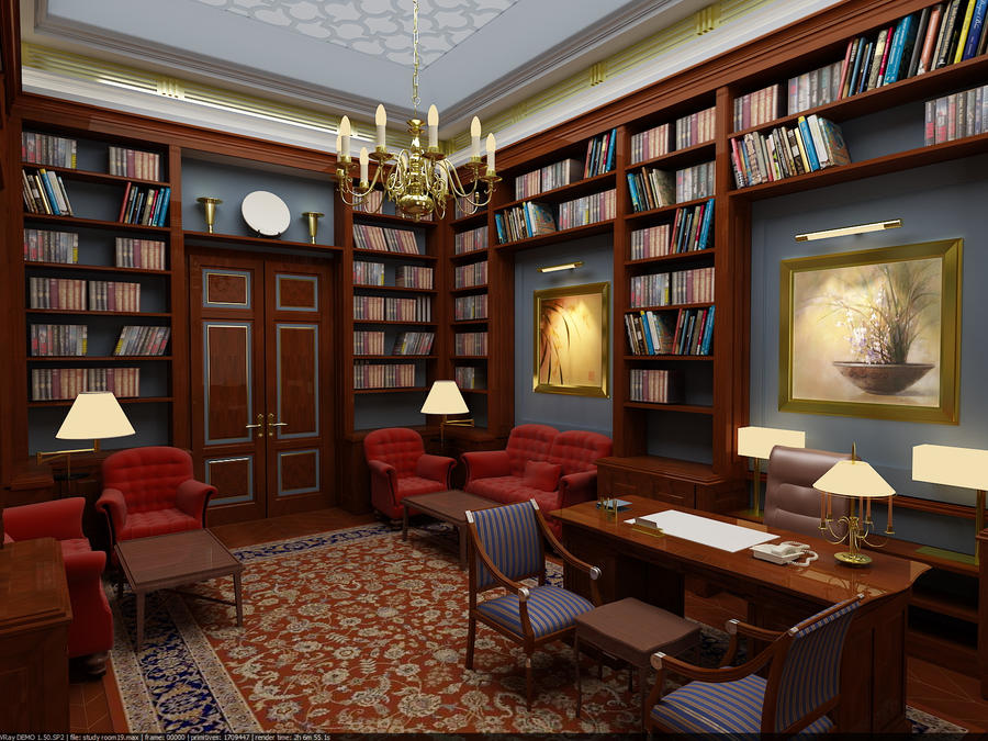 Study room ideas furniture design for Enjoyable home library design to complete your home interior