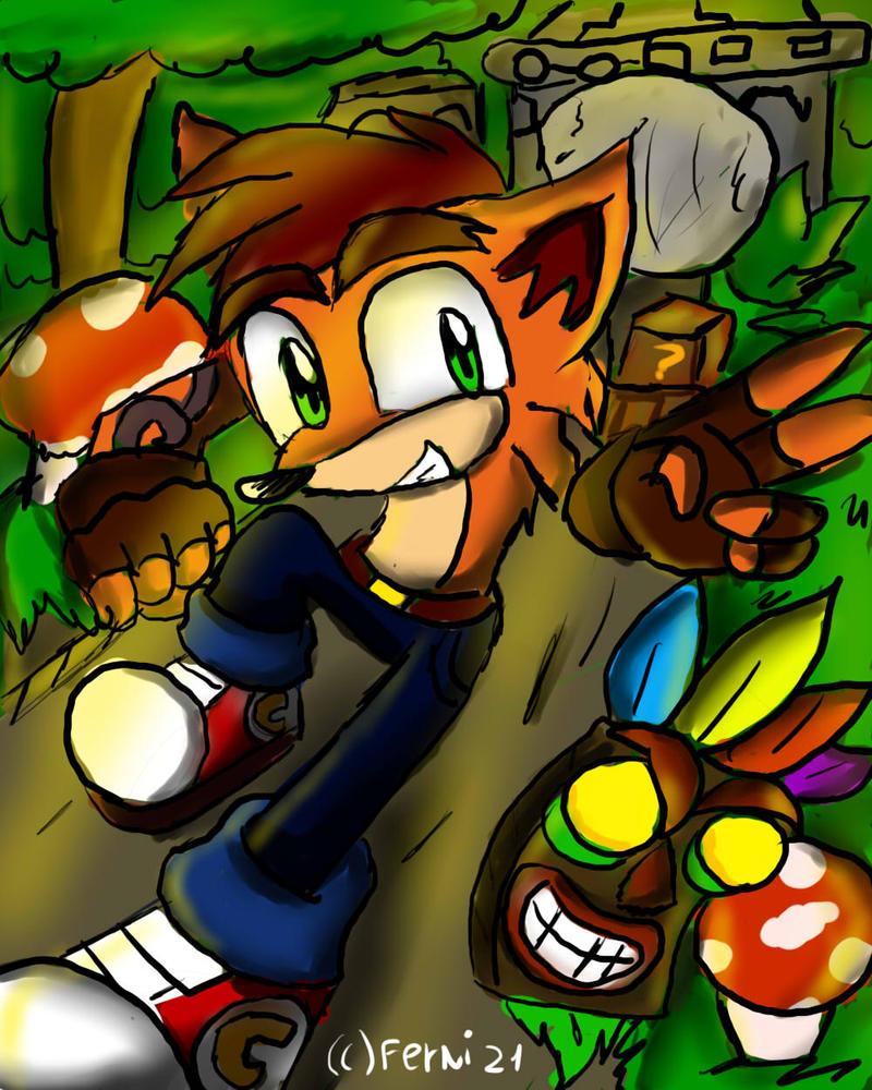 Crash bandicoot and aku aku by Ferni21