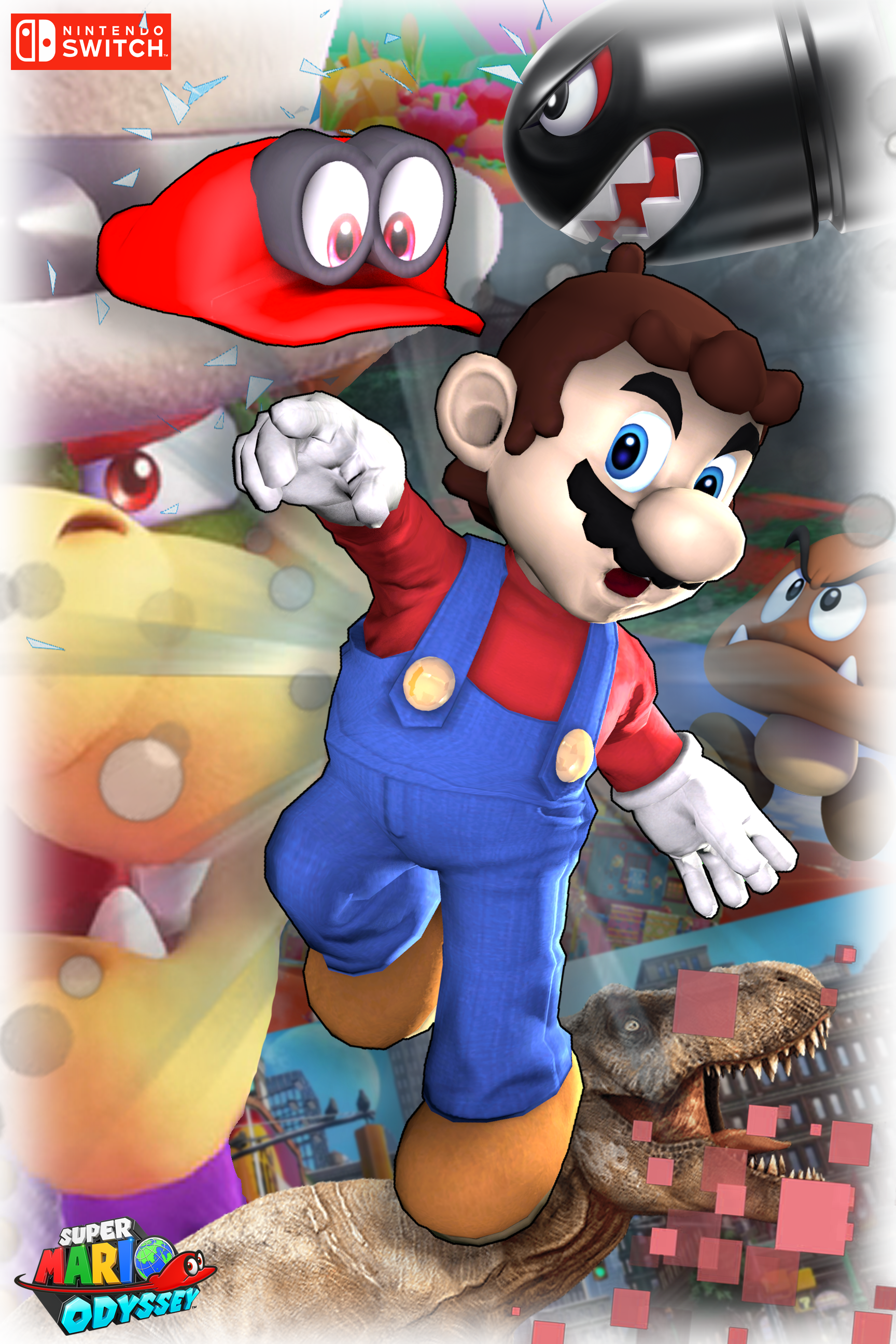 Super mario odyssey poster by iamyoyomande1 on deviantart for Super mario odyssey paintings