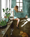 Potted plants and cats