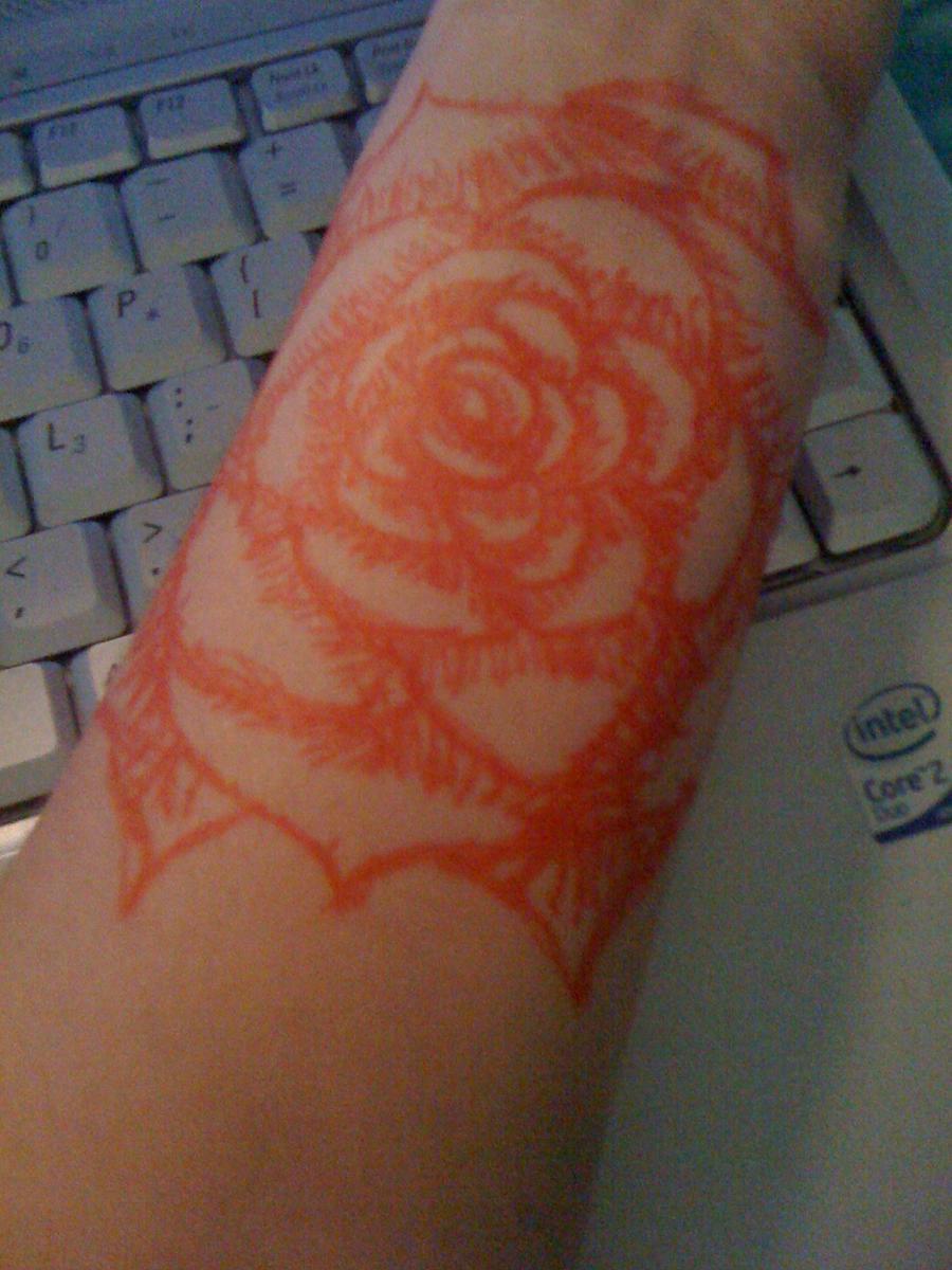 gel pen rose tattoo by sylverfoxx on deviantart
