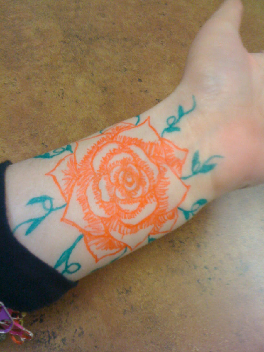 rose gel pen tattoo 2 by sylverfoxx on deviantart