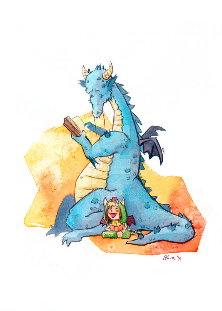 The reader dragon and his little friend by saetiz