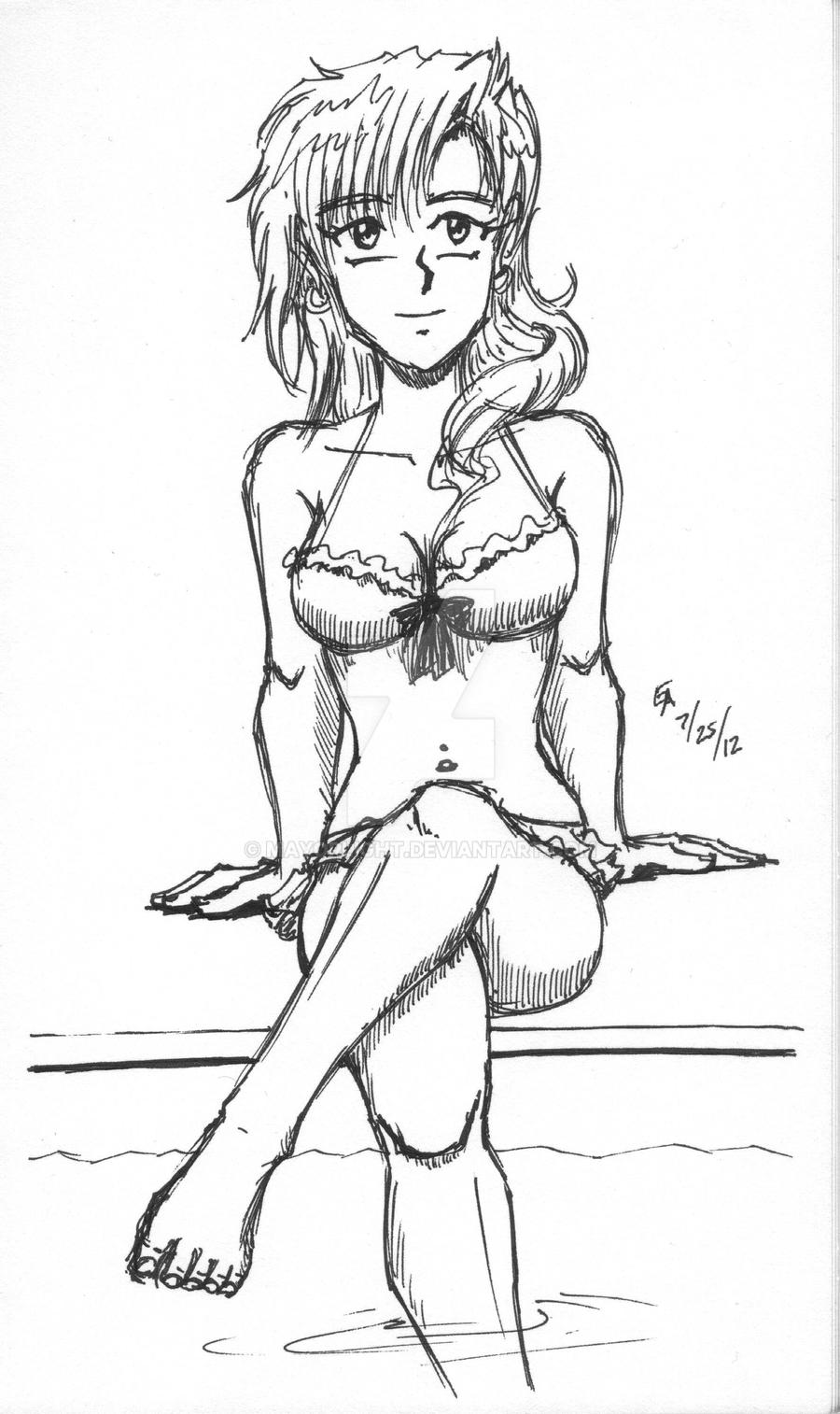FF13: Lightning bikini sketch by mayorlight