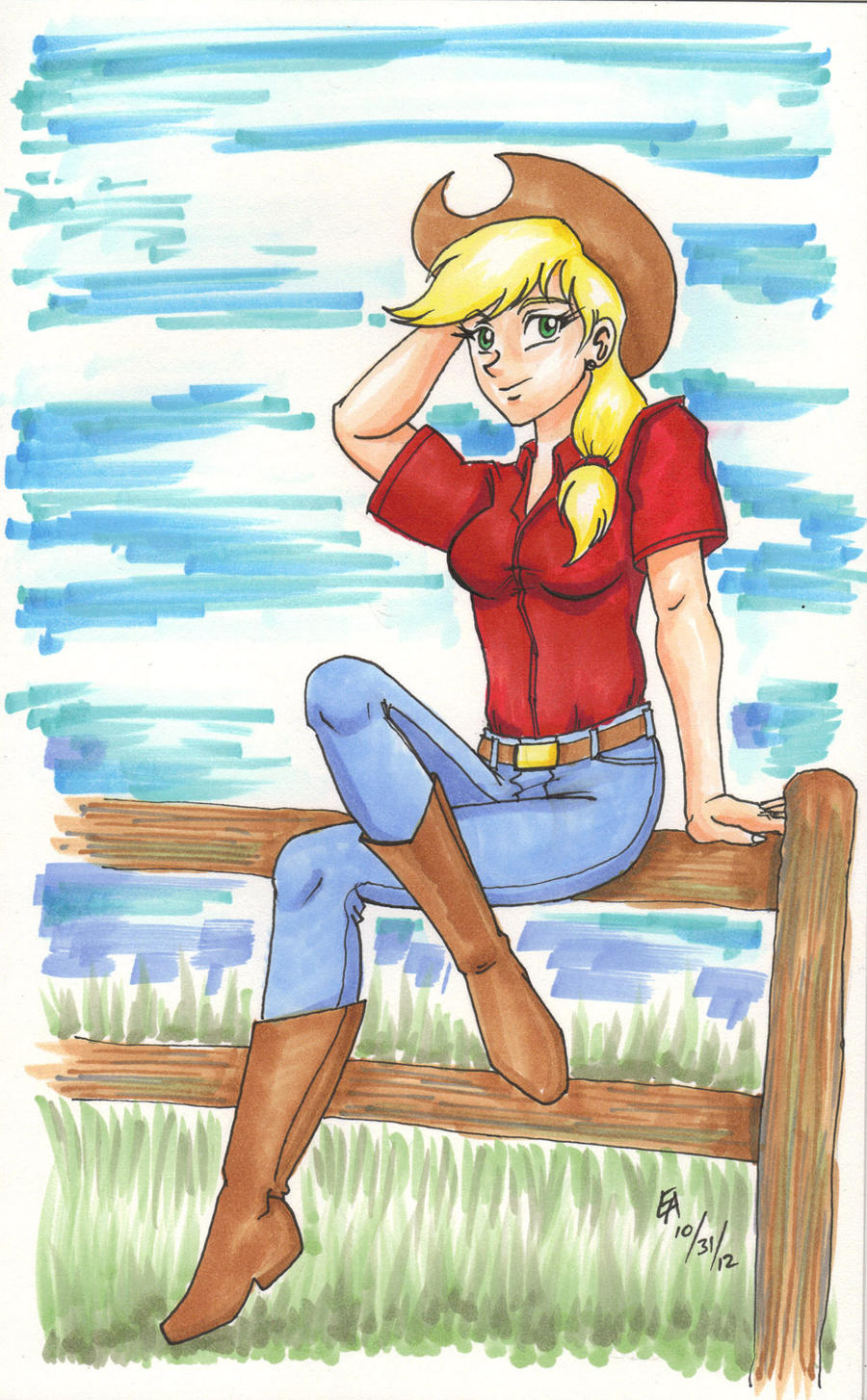 Applejack for Watchatophat by mayorlight