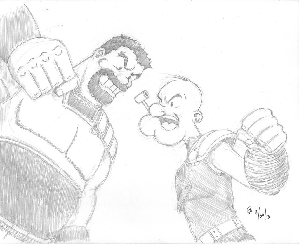 Popeye vs Bluto Hokuto No Ken style by mayorlight